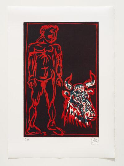 Markus Lüpertz, Sternzeichen – Stier, 2018. Holzschnitt auf Bütten, 76 x 54 cm, 30 arab. zzgl. 6 röm. Exemplare | Entdecken Sie die Tiekreiszeichen von Markus Lüpertz