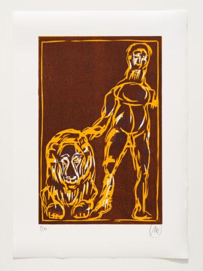 Markus Lüpertz, Sternzeichen – Löwe, 2018. Holzschnitt auf Bütten, 76 x 54 cm, 30 arab. zzgl. 6 röm. Exemplare | Entdecken Sie die Tiekreiszeichen von Markus Lüpertz