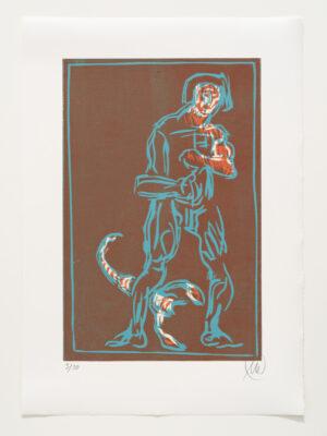 Markus Lüpertz, Sternzeichen – Skorpion, 2018. Holzschnitt auf Bütten, 76 x 54 cm, 30 arab. zzgl. 6 röm. Exemplare   Entdecken Sie die Tiekreiszeichen von Markus Lüpertz