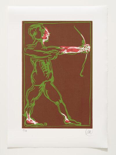 Markus Lüpertz, Sternzeichen – Schütze, 2018. Holzschnitt auf Bütten, 76 x 54 cm, 30 arab. zzgl. 6 röm. Exemplare | Entdecken Sie die Tiekreiszeichen von Markus Lüpertz