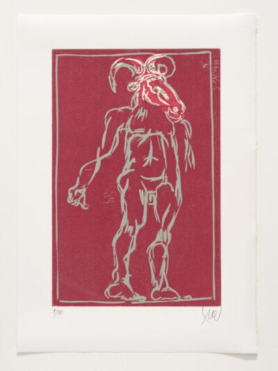 Markus Lüpertz, Sternzeichen – Steinbock, 2018. Holzschnitt auf Bütten, 76 x 54 cm, 30 arab. zzgl. 6 röm. Exemplare | Entdecken Sie die Tiekreiszeichen von Markus Lüpertz