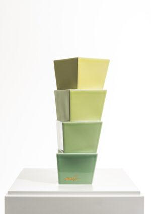 Heinz Mack Keramikskulptur von grün zu gelb Edition Nr. 1 1997