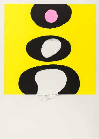 Otto Piene Tele schwarz weiß rosa gelb Serigrafie 1970