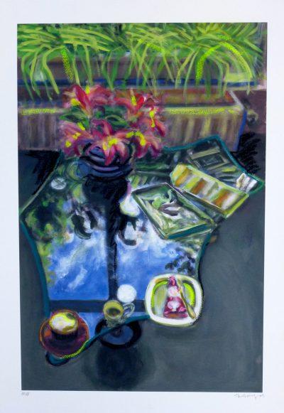 Norbert Tadeusz, o.T. (Glastisch mit Blumen I), 1989
