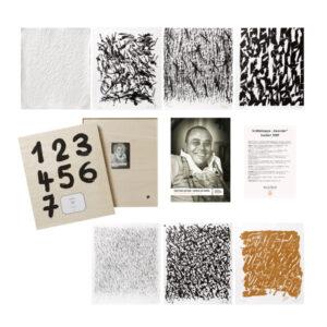 Günther Uecker Prägedruck Lithografie Holzschnitt Sanddruck Siebdruck Kalender 2009 – 7 Grafiken gestaltete Holzkiste und DVD