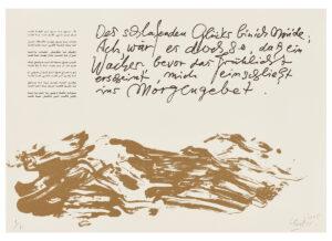 Günther Uecker Huldigung an Hafez Motiv 24 Sanddruck 2015