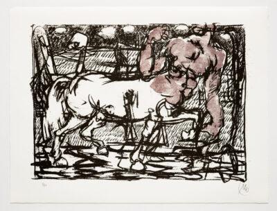 Markus Lüpertz, Troja (Motiv 5), 2019, aus einer Serie von 5 Farblithografien, Motiv: 50 x 70 cm, Blatt: 61,3 x 81 cm, 20 arab. num., sign. Exemplare
