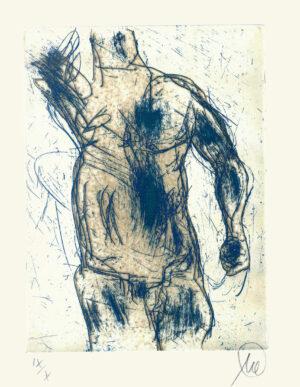 Markus Lüpertz Herkules graublau Radierung