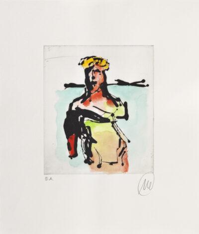 Markus Lüpertz Ulysses Radierung handübermalt 2013 42 x 35,7 cm