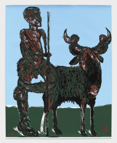 Markus Lüpertz, Der Hirte, 1987/1988, Holzschnitt, unikaler Einzelabzug, 212 x 170 cm