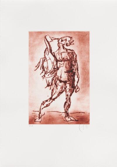 Markus Lüpertz, Leda mit dem Schwan (rot), 2019. Radierung auf Bütten, 53 x 37,5 cm, 10 Exemplare zzgl. e.a.