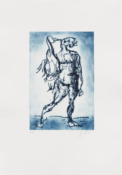 Markus Lüpertz, Leda mit dem Schwan (blau), 2019. Radierung auf Bütten, 53 x 37,5 cm, 10 Exemplare zzgl. e.a.