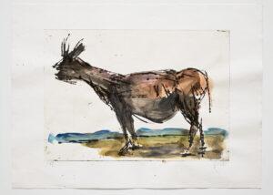 Markus Lüpertz Ohne Titel (Esel) handübermalte Radierung 2019 70 x 94 cm