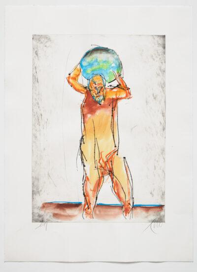 Markus Lüpertz Atlas handübermalte Radierung 2013/2019 94 x 69,3 cm