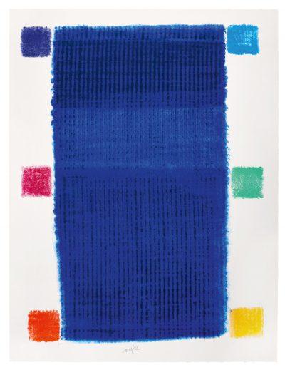 Heinz Mack, Blauchromatik mit 6 farbigen Quadraten, 2018