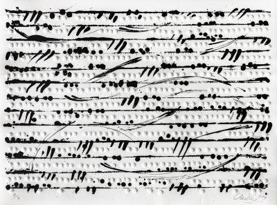 Günther Uecker, Optische Partitur I, 2014