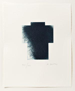Arnulf Rainer, Kreuz klein (Variante blau), 2013