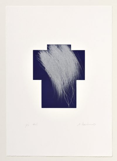 Arnulf Rainer, Kreuz Silber/Nachtblau, 1999