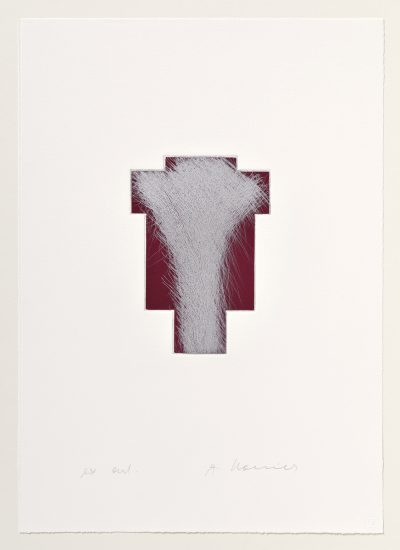 Arnulf Rainer, Kreuz Silber/Kirschrot, 1999