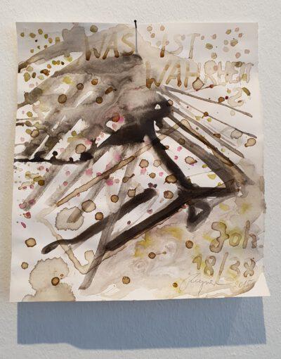 Felix Droese Was ist Wahrheit Wasserfarbe Tusche Tierblut-2015-35,5 x 32 cm