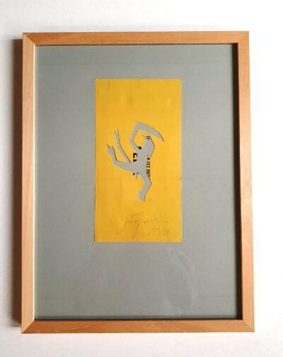 Felix Droese Teufel gelb Papierschnitt 2020 32,5 x 42,5 cm