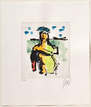 Markus Lüpertz Ulysses handübermalte Radierung 2013 42 x 35,7 cm