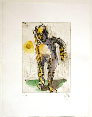 Markus Lüpertz Ohne Titel handübermalte Radierung von 2013 42 x 35,7 cm