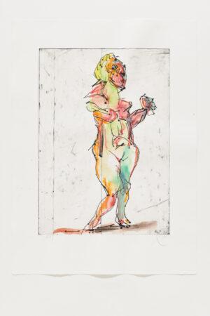 Markus Lüpertz Mozart 1 handübermalte Radierung 2005/2020 94,3 x 69,5 cm © Jack Kulcke