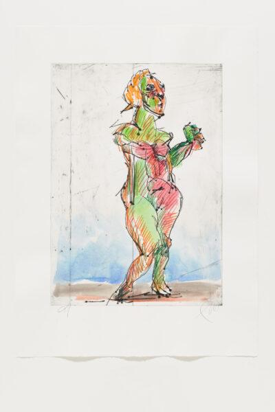 Markus Lüpertz Mozart 1 handübermalte Radierung 2005/2020 94,3 x 69,5 cm