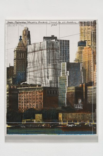 Christo und Jeanne-Claude Lower Manhattan Wrapped Building Collage 1984