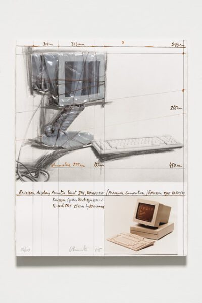 Christo und Jeanne-Claude Wrapped Ericsson Display Monitor Collage 1985