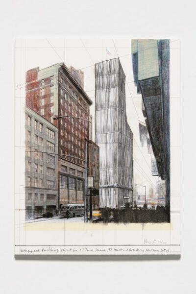 Christo und Jeanne-Claude Wrapped Building Project for #1 Times Square Collage 2003