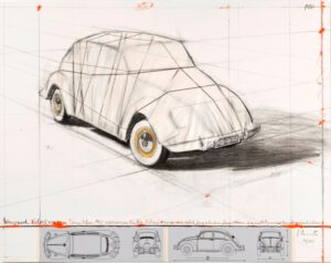 Christo und Jeanne-Claude Wrapped Volkswagen (Project for 1961 Volkswagen Beetle Saloon) Collage 2013