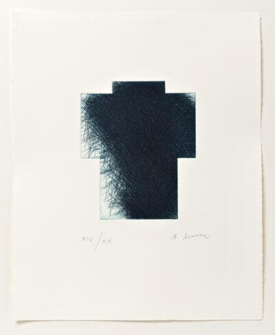 Arnulf Rainer Kreuz klein blau Radierung 2013