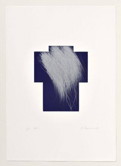 Arnulf Rainer Kreuz Silber/Nachtblau Radierung 1999