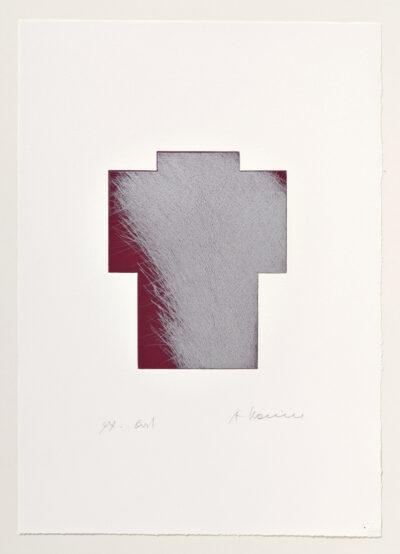 Arnulf Rainer Breitkreuz Silber/Weinrot Radierung 1999