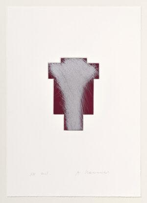 Arnulf Rainer Kreuz Silber/Blutrot Radierung 1999