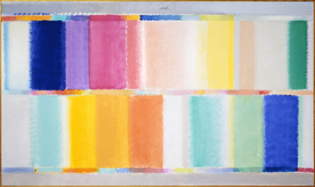 Heinz Mack Großes Sternen-Spektrum 2004, Chromatische Konstellation, Acryl auf Leinwand, 167 x 285 cm © Archiv Mack, VG Bild-Kunst, Bonn 2015