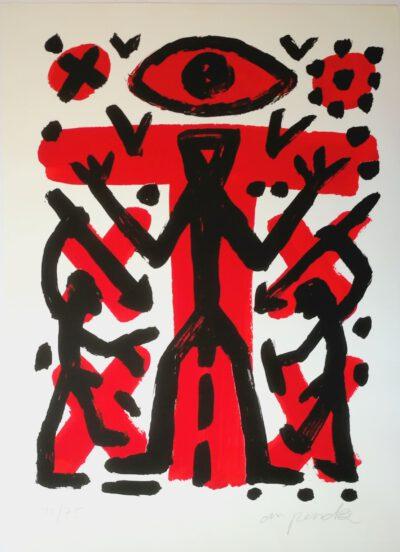 A.R. Penck Grafik Siebdruck Ohne Titel 70 x 50 cm 75 arabisch nummerierte signierte Exemplare