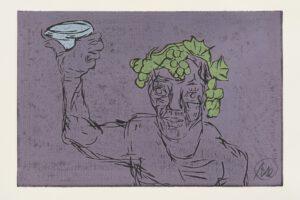 Markus Lüpertz Kopf des Dionysos Holzschnitt lila 2021
