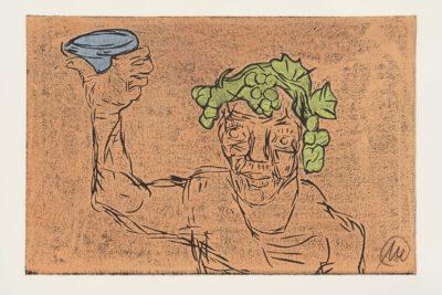 Markus Lüpertz Kopf des Dionysos Holzschnitt hellbraun 2021