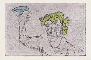Markus Lüpertz Kopf des Dionysos Holzschnitt grau2021