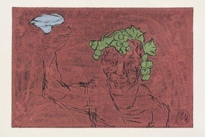 Markus Lüpertz Kopf des Dionysos Holzschnitt rotbraun 2021