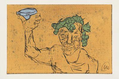 Markus Lüpertz Kopf des Dionysos Holzschnitt goldgelb2021