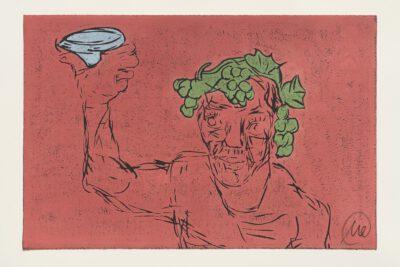 Markus Lüpertz Kopf des Dionysos Holzschnitt rot 2021