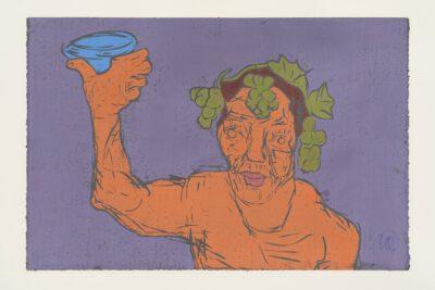 Markus Lüpertz Kopf des Dionysos Holzschnitt orange auf lila 2021