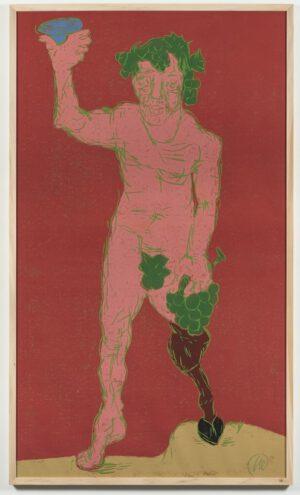 Markus Lüpertz Dionysos Holzschnitt pink und grün auf weinrot 2021 237,5 cm x 137,5 cm