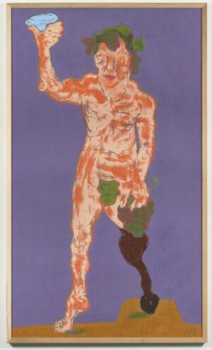 Markus Lüpertz Dionysos Holzschnitt pink und orange auf lila 2021 237,5 cm x 137,5 cm