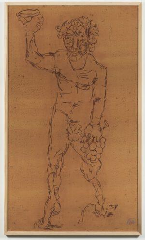 Markus Lüpertz Dionysos Holzschnitt schwarz auf braun 2021, Format: 237,5 cm x 137,5 cm, Einzelabzug in dieser Farbkombination