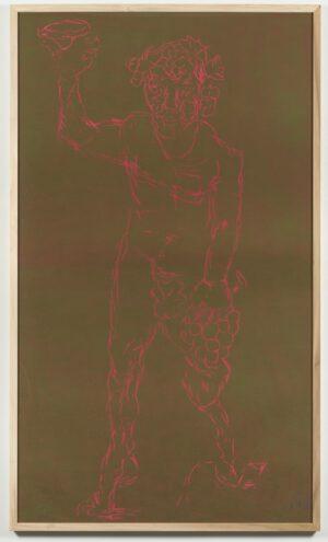Markus Lüpertz Dionysos Holzschnitt pink auf olivgrün 2021, Format: 237,5 cm x 137,5 cm, Einzelabzug in dieser Farbkombination